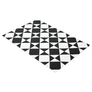 White Black Retro Squares Triangles Pattern Doormat