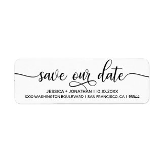 White Black SAVE OUR DATE Wedding Return Address