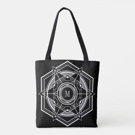 White & Black Secret Geometry Geometric Design Tote Bag