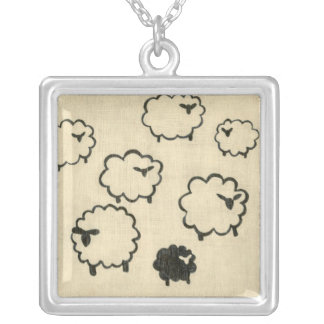 White & Black Sheep on Cream Background Silver Plated Necklace