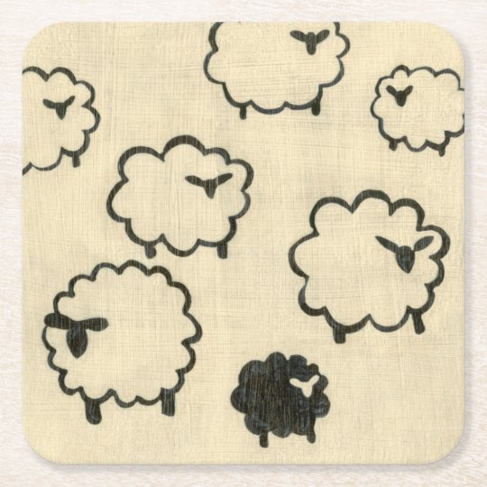 White & Black Sheep on Cream Background Square Paper Coaster