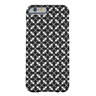 White Black Square Lines and Blocks Pattern Barely There iPhone 6 Case