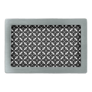 White Black Square Lines and Blocks Pattern Belt Buckle