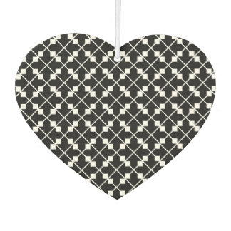 White Black Square Lines and Blocks Pattern Car Air Freshener