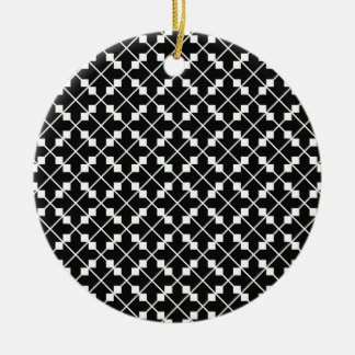 White Black Square Lines and Blocks Pattern Ceramic Ornament