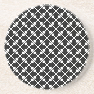 White Black Square Lines and Blocks Pattern Coaster