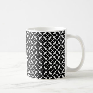 White Black Square Lines and Blocks Pattern Coffee Mug