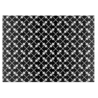 White Black Square Lines and Blocks Pattern Cutting Board