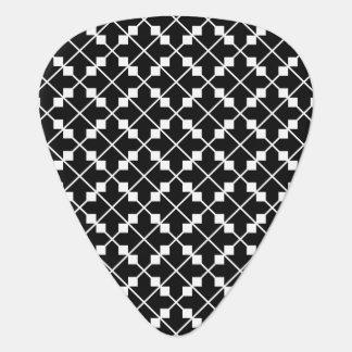 White Black Square Lines and Blocks Pattern Guitar Pick