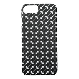 White Black Square Lines and Blocks Pattern iPhone 8/7 Case