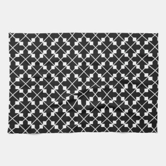 White Black Square Lines and Blocks Pattern Kitchen Towel