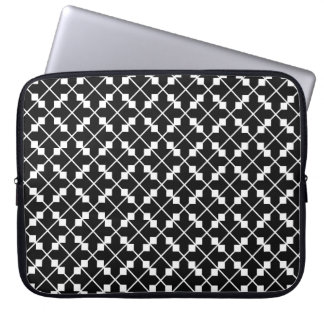 White Black Square Lines and Blocks Pattern Laptop Sleeve