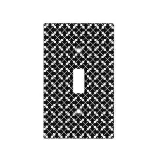 White Black Square Lines and Blocks Pattern Light Switch Cover
