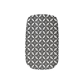 White Black Square Lines and Blocks Pattern Minx Nail Art