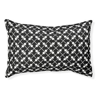 White Black Square Lines and Blocks Pattern Pet Bed