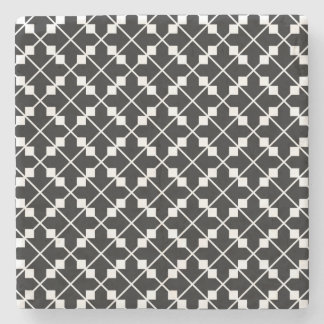 White Black Square Lines and Blocks Pattern Stone Coaster