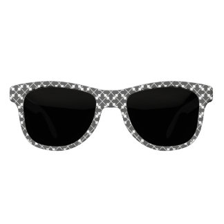 White Black Square Lines and Blocks Pattern Sunglasses