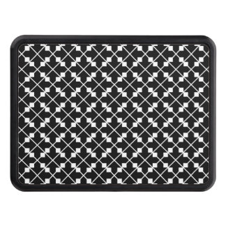 White Black Square Lines and Blocks Pattern Trailer Hitch Cover