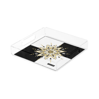 White & Black Squares Black & Gold Mandala 2a Acrylic Tray