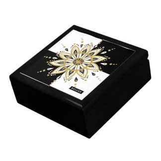 White & Black Squares Black & Gold Mandala 2c Gift Box