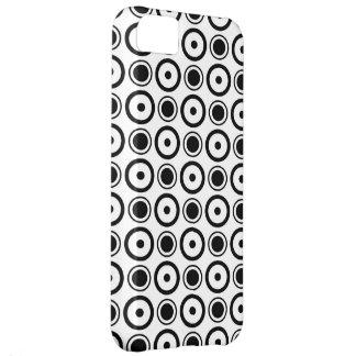 White Black stylish polka dots white background iPhone 5C Cases