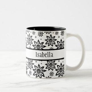 White & Black Sunshiney Graphic Floral Pattern Two-Tone Coffee Mug
