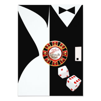 "White Black Vegas New Years Wedding Reception 5"" X 7"" Invitation Card"