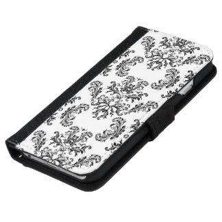 White Black vintage damask pattern iPhone 6 wallet