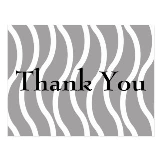 White & Black Wavy Lines Thank You Cards