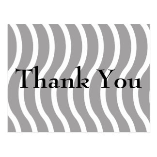 White & Black Wavy Lines Thank You Cards Postcard