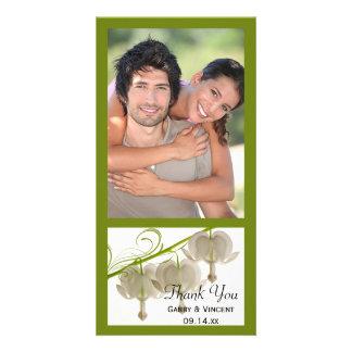 White Bleeding Hearts Flowers Wedding Thank You Photo Cards