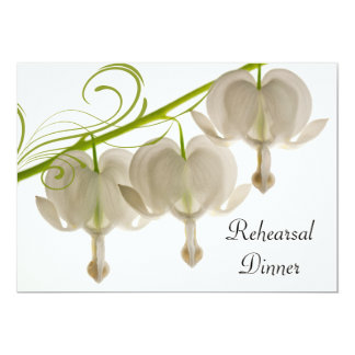 White Bleeding Hearts Wedding Rehearsal Dinner Card