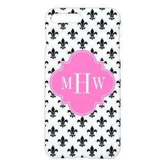 White Blk Fleur de Lis Hot Pink 3 Initial Monogram iPhone 7 Plus Case