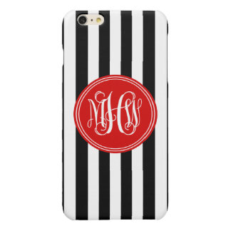 White Blk Vert Stripe 6x Red Vine Script Monogram