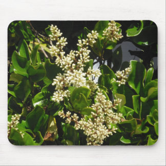 White Bloom Curly Leaves Mousepad
