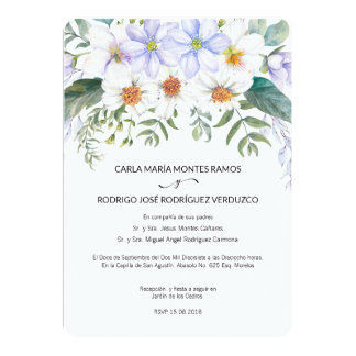 White Blooms Spanish Wedding Invitation