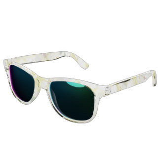 white blossom clear sunglasses with ocean mirror