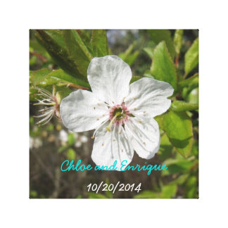 White Blossom Personalized Wedding Stretched Canvas Prints