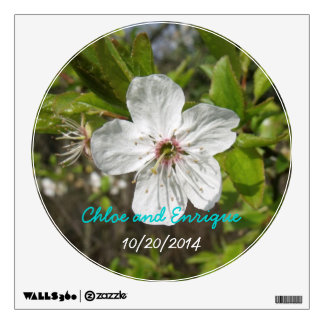 White Blossom Personalized Wedding Wall Sticker