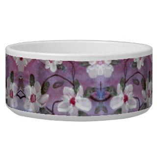 White Blossom Print A Purple Fancy Pet Bowl