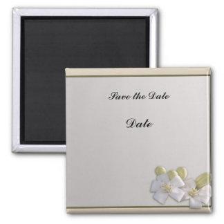 White Blossom Square Magnet