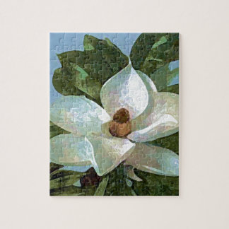 White Blossoming Magnolia Jigsaw Puzzle