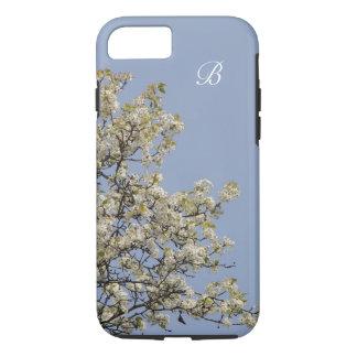 White Blossoms, Blue Background, Monogram iPhone 8/7 Case