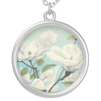 White Blossoms from the South Silver Plated Necklace