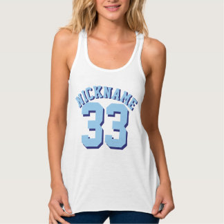 White & Blue Adults | Sports Jersey Design Tank Top