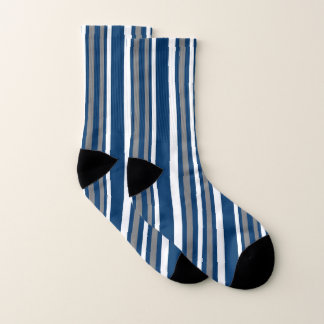 White Blue and Gray Stripe Pattern Socks 1