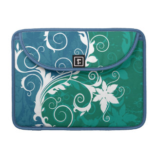 White Blue and Green Floral Grunge Sleeve For MacBook Pro