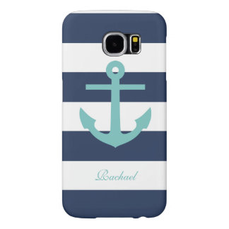 White Blue & Aqua Anchors Aweigh Samsung Galaxy S6 Cases