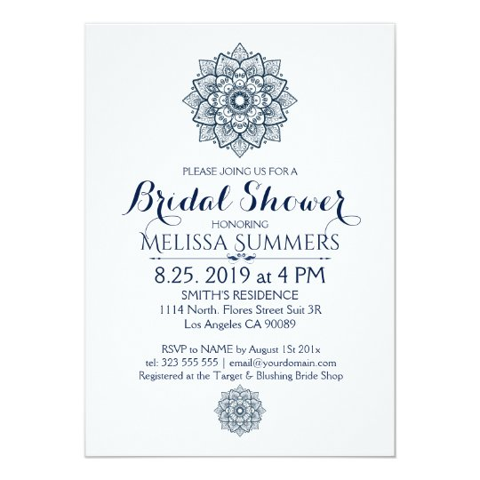 White & Blue Floral Mandala Bridal Shower Invite