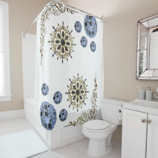 White blue gold victorian showercurtain